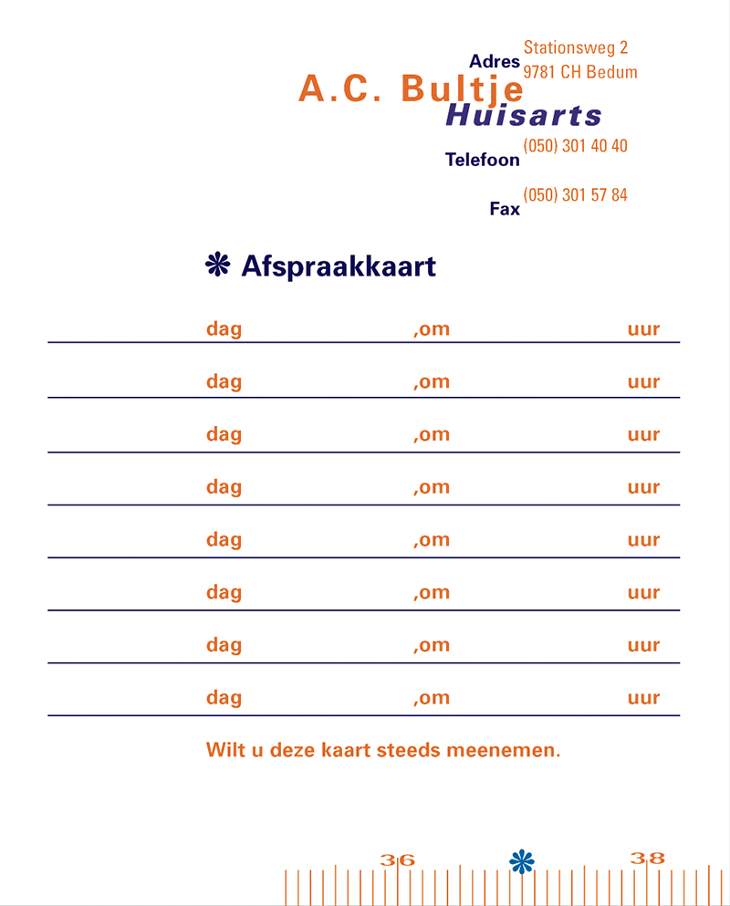Huisarts Bultje afspraakkaart