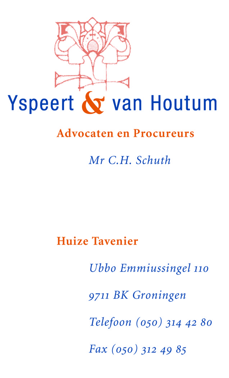 Yspeert & van Houtum Avocaten visitekaartje
